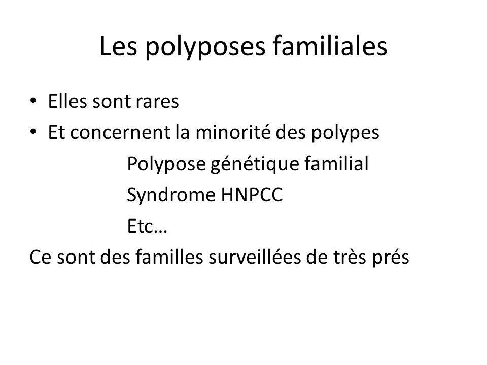 Les polyposes familiales Elles sont rares Et concernent la minorité des polypes Polypose génétique familial Syndrome HNPCC Etc… Ce sont des familles s