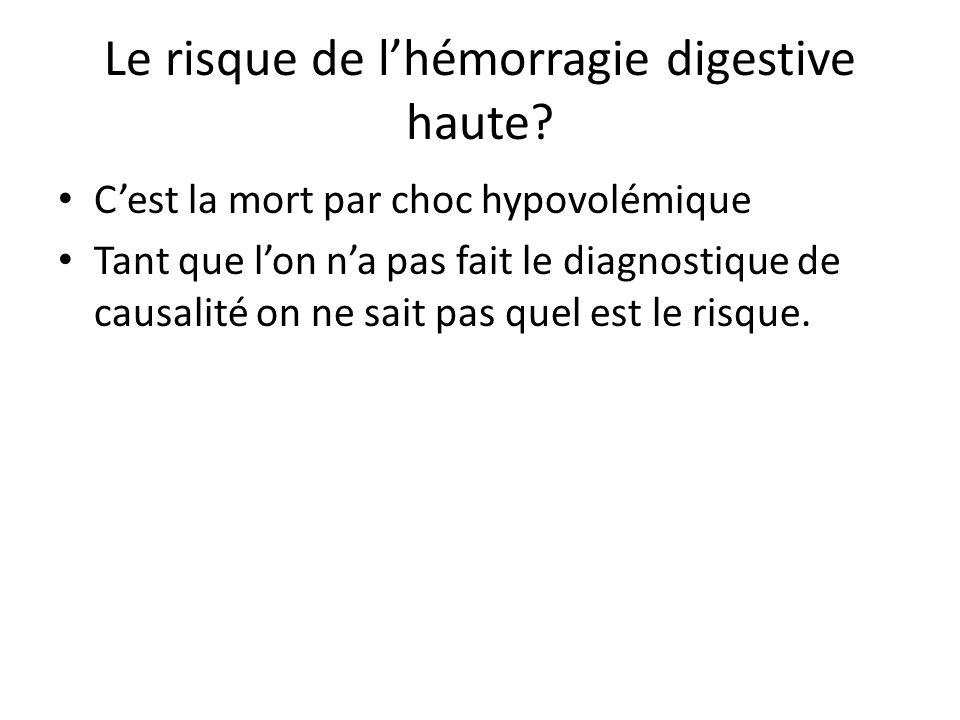 Le risque de l'hémorragie digestive haute? C'est la mort par choc hypovolémique Tant que l'on n'a pas fait le diagnostique de causalité on ne sait pas