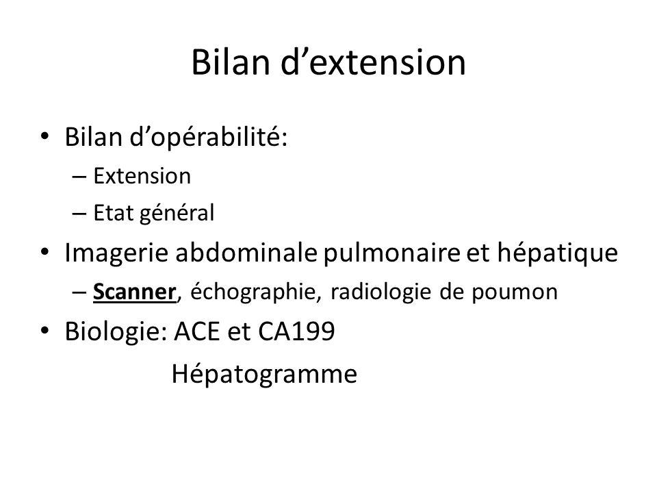 Bilan d'extension Bilan d'opérabilité: – Extension – Etat général Imagerie abdominale pulmonaire et hépatique – Scanner, échographie, radiologie de po