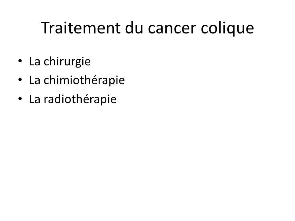Traitement du cancer colique La chirurgie La chimiothérapie La radiothérapie