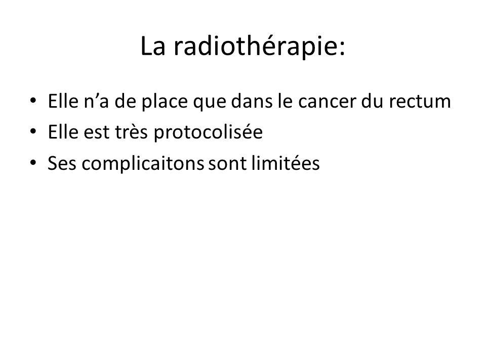 La radiothérapie: Elle n'a de place que dans le cancer du rectum Elle est très protocolisée Ses complicaitons sont limitées