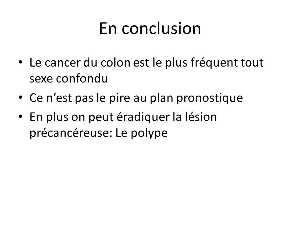 En conclusion Le cancer du colon est le plus fréquent tout sexe confondu Ce n'est pas le pire au plan pronostique En plus on peut éradiquer la lésion