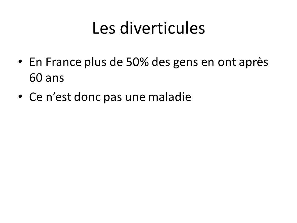 Les diverticules En France plus de 50% des gens en ont après 60 ans Ce n'est donc pas une maladie