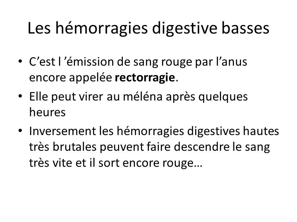 Les hémorragies digestive basses C'est l 'émission de sang rouge par l'anus encore appelée rectorragie. Elle peut virer au méléna après quelques heure
