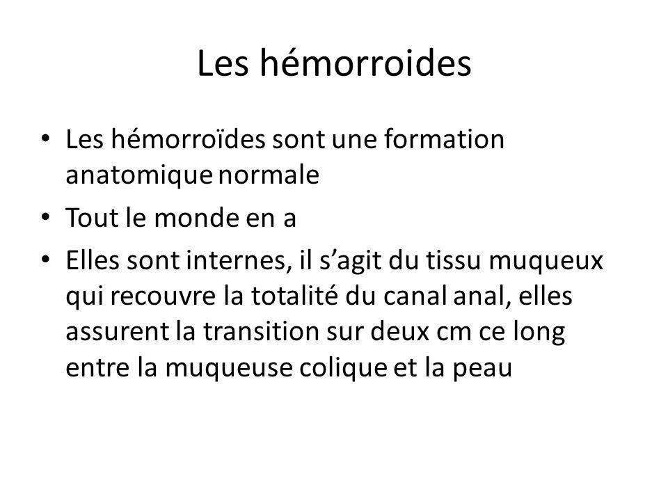 Les hémorroides Les hémorroïdes sont une formation anatomique normale Tout le monde en a Elles sont internes, il s'agit du tissu muqueux qui recouvre