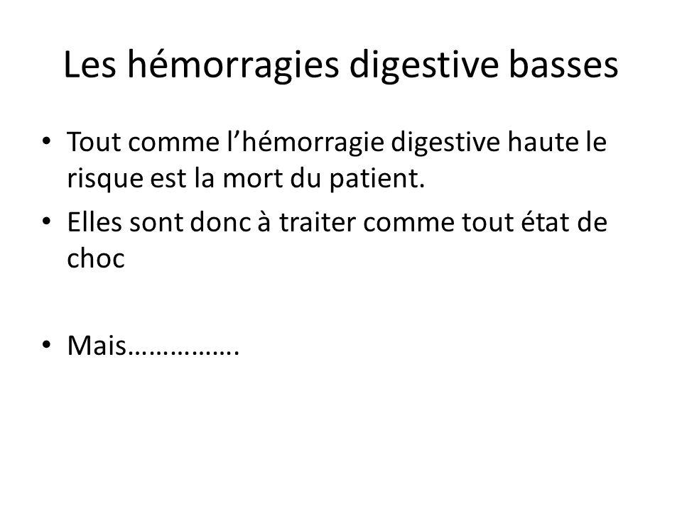 Les hémorragies digestive basses Tout comme l'hémorragie digestive haute le risque est la mort du patient. Elles sont donc à traiter comme tout état d
