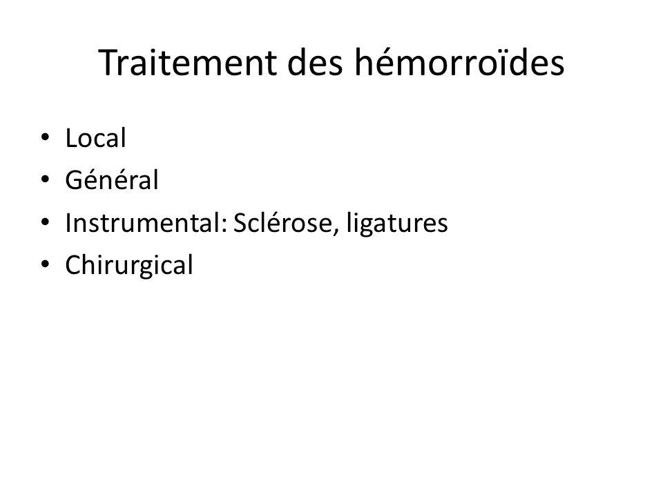 Traitement des hémorroïdes Local Général Instrumental: Sclérose, ligatures Chirurgical