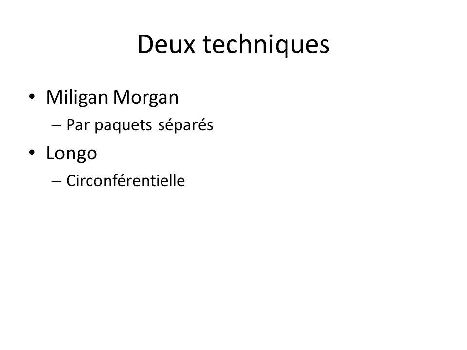 Deux techniques Miligan Morgan – Par paquets séparés Longo – Circonférentielle