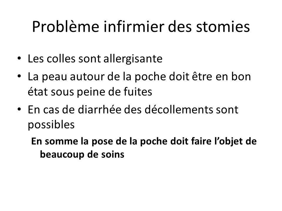 Problème infirmier des stomies Les colles sont allergisante La peau autour de la poche doit être en bon état sous peine de fuites En cas de diarrhée d