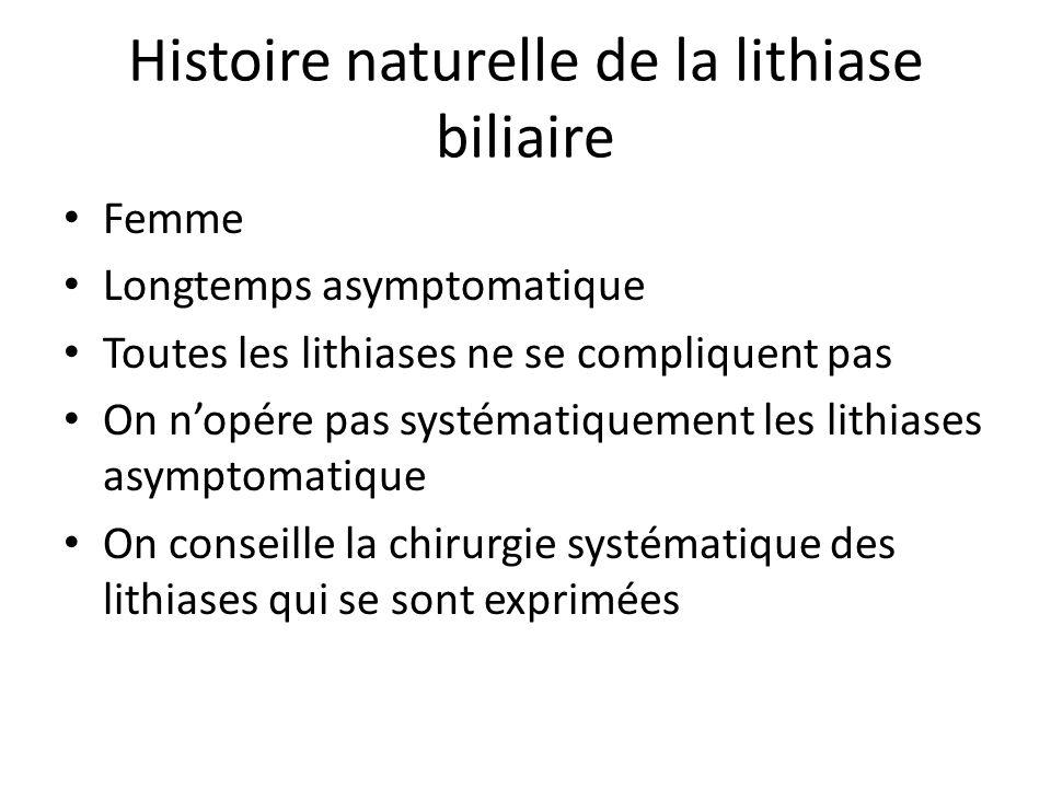Histoire naturelle de la lithiase biliaire Femme Longtemps asymptomatique Toutes les lithiases ne se compliquent pas On n'opére pas systématiquement l