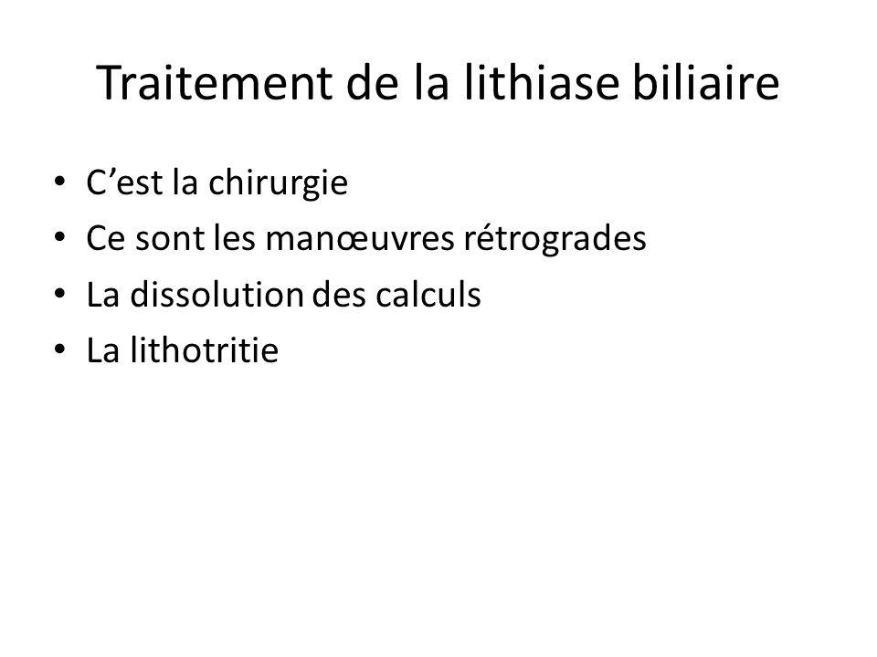 Traitement de la lithiase biliaire C'est la chirurgie Ce sont les manœuvres rétrogrades La dissolution des calculs La lithotritie