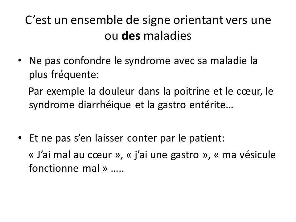 C'est un ensemble de signe orientant vers une ou des maladies Ne pas confondre le syndrome avec sa maladie la plus fréquente: Par exemple la douleur d