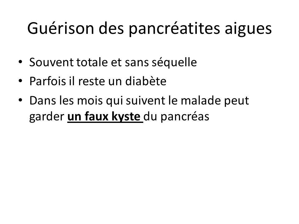 Guérison des pancréatites aigues Souvent totale et sans séquelle Parfois il reste un diabète Dans les mois qui suivent le malade peut garder un faux k