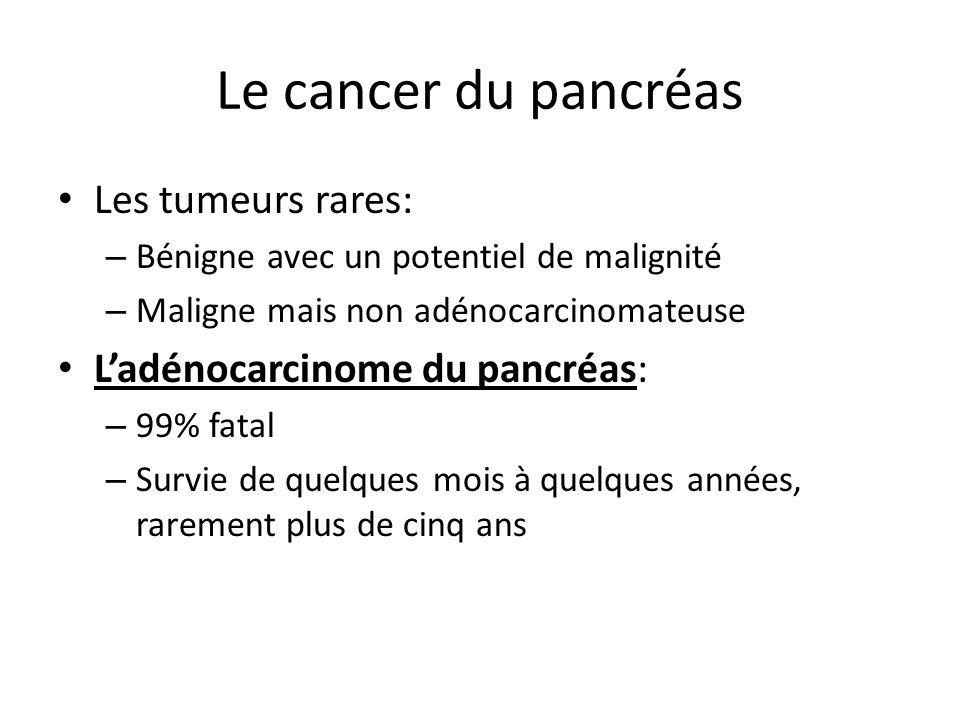 Le cancer du pancréas Les tumeurs rares: – Bénigne avec un potentiel de malignité – Maligne mais non adénocarcinomateuse L'adénocarcinome du pancréas: