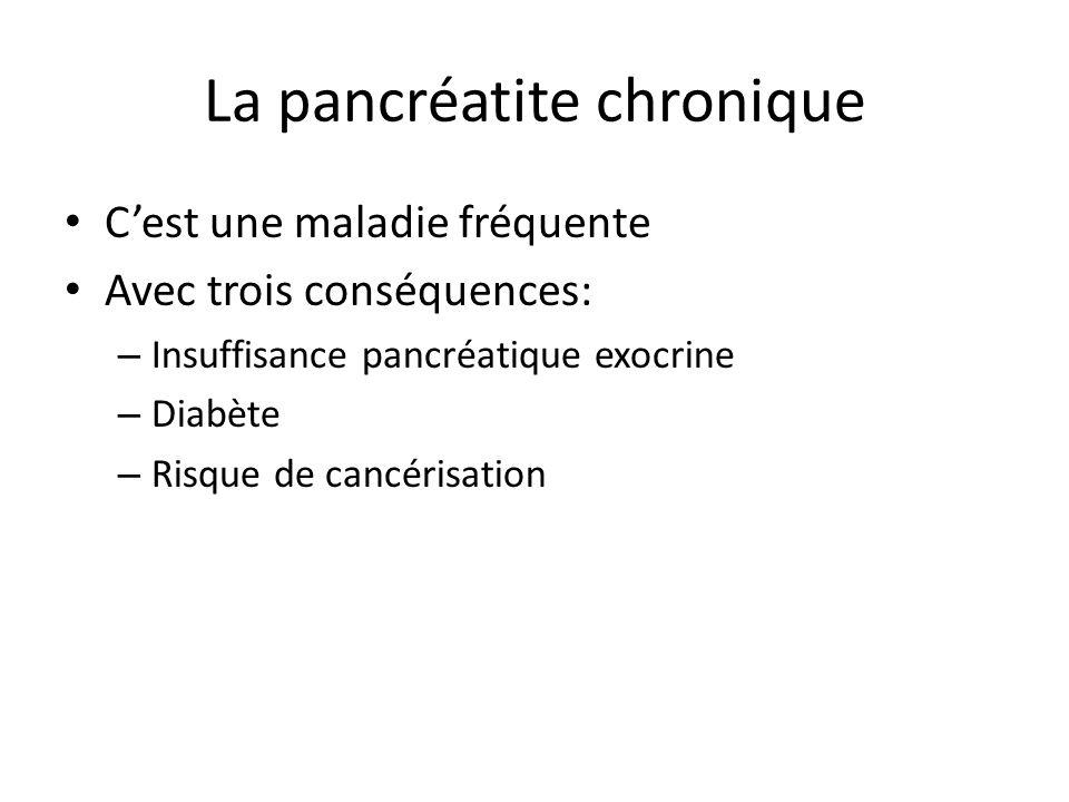 La pancréatite chronique C'est une maladie fréquente Avec trois conséquences: – Insuffisance pancréatique exocrine – Diabète – Risque de cancérisation