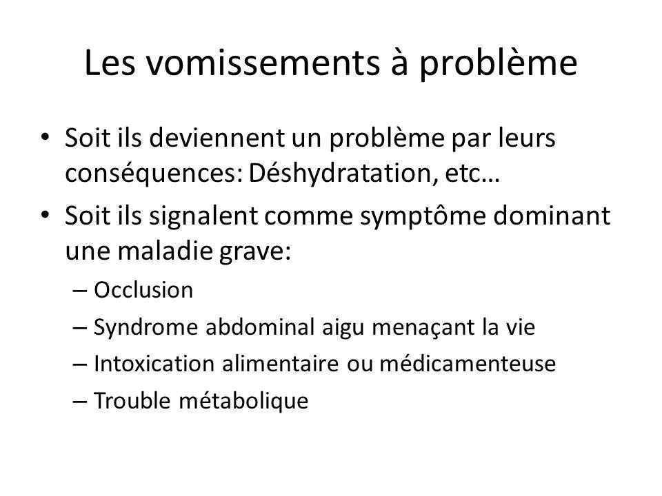 Les vomissements à problème Soit ils deviennent un problème par leurs conséquences: Déshydratation, etc… Soit ils signalent comme symptôme dominant un