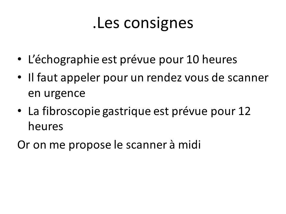 .Les consignes L'échographie est prévue pour 10 heures Il faut appeler pour un rendez vous de scanner en urgence La fibroscopie gastrique est prévue p