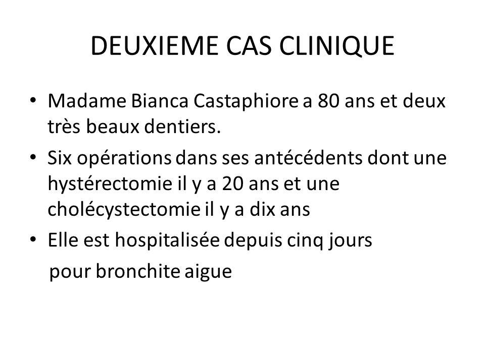 DEUXIEME CAS CLINIQUE Madame Bianca Castaphiore a 80 ans et deux très beaux dentiers. Six opérations dans ses antécédents dont une hystérectomie il y