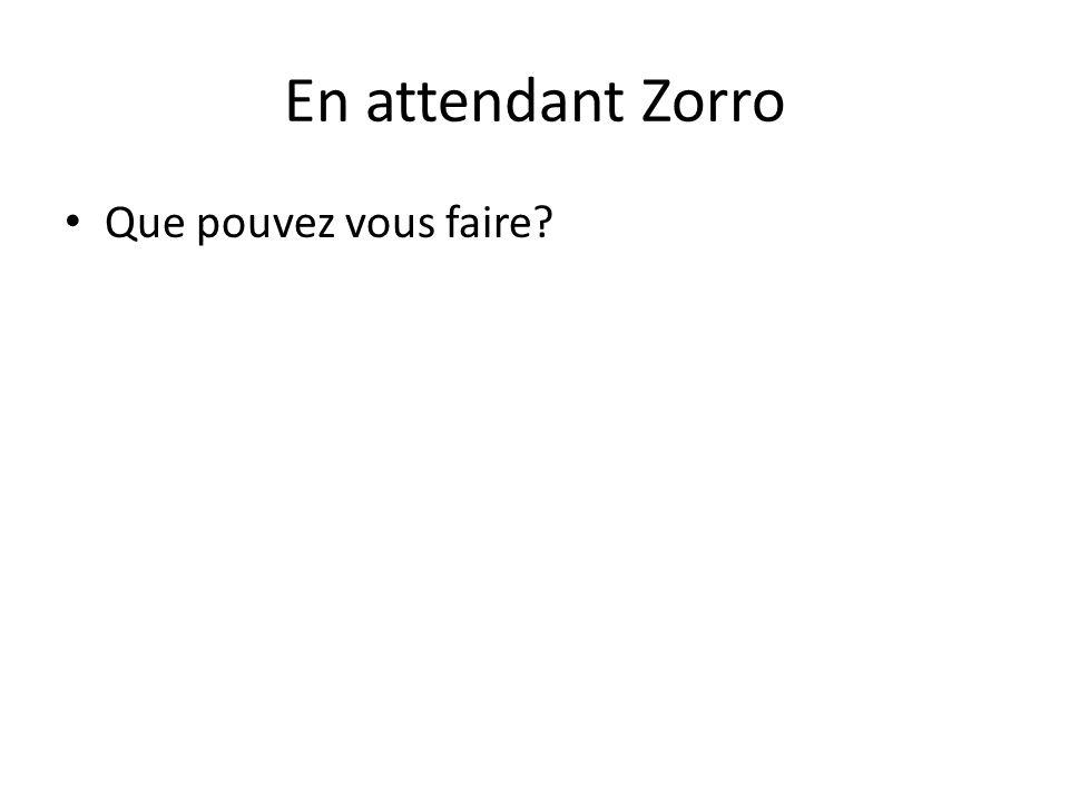 En attendant Zorro Que pouvez vous faire?
