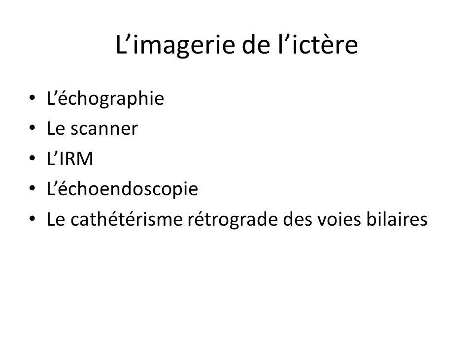 L'imagerie de l'ictère L'échographie Le scanner L'IRM L'échoendoscopie Le cathétérisme rétrograde des voies bilaires
