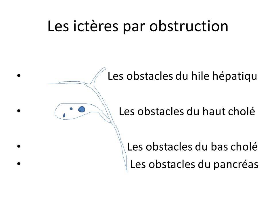 Les ictères par obstruction Les obstacles du hile hépatiqu Les obstacles du haut cholé Les obstacles du bas cholé Les obstacles du pancréas