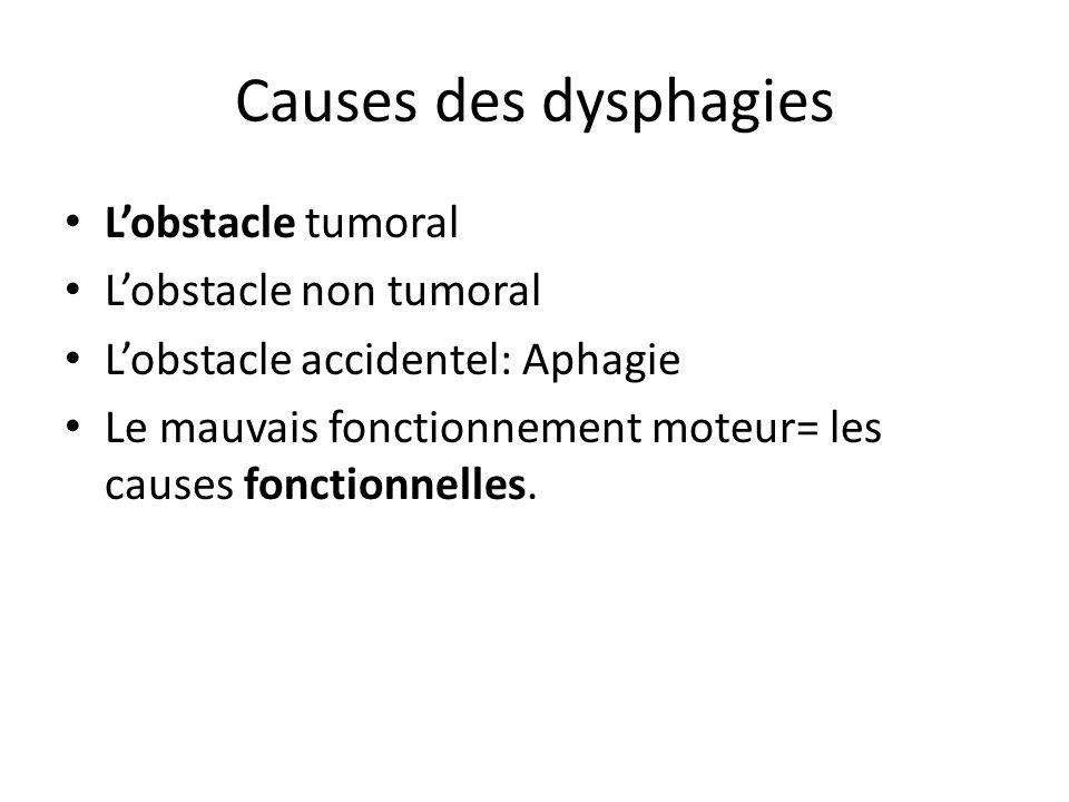 Causes des dysphagies L'obstacle tumoral L'obstacle non tumoral L'obstacle accidentel: Aphagie Le mauvais fonctionnement moteur= les causes fonctionne