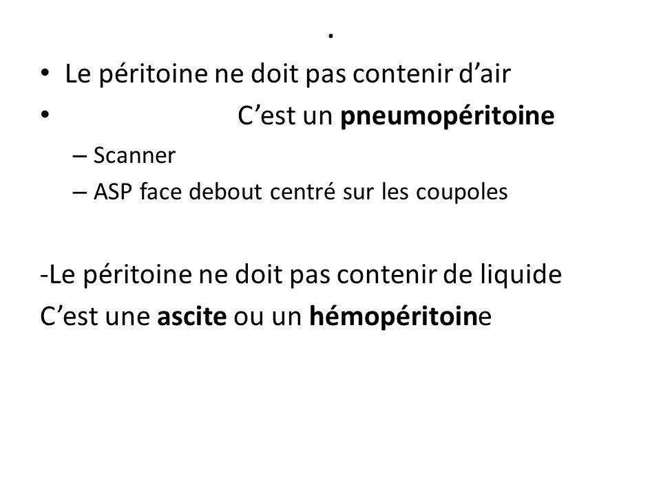 . Le péritoine ne doit pas contenir d'air C'est un pneumopéritoine – Scanner – ASP face debout centré sur les coupoles -Le péritoine ne doit pas conte