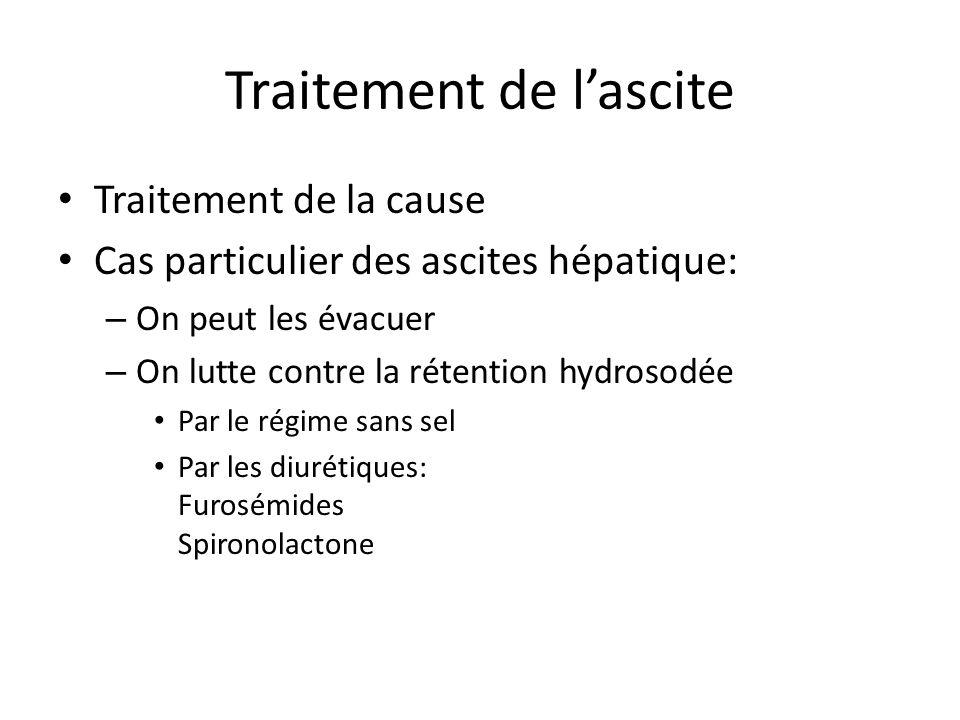 Traitement de l'ascite Traitement de la cause Cas particulier des ascites hépatique: – On peut les évacuer – On lutte contre la rétention hydrosodée P