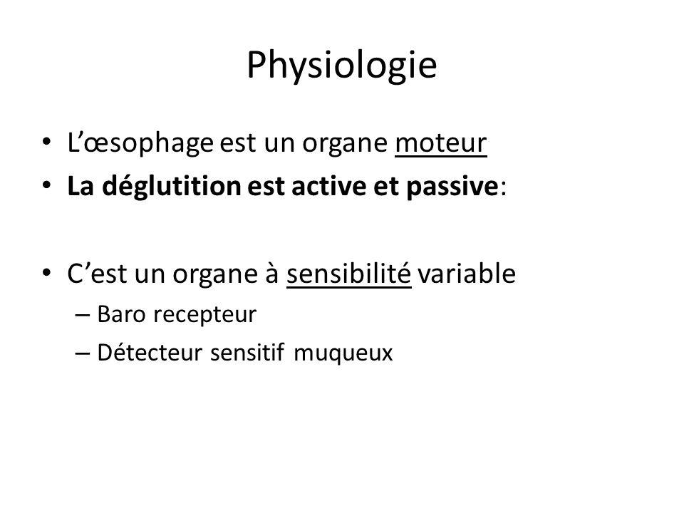 Physiologie L'œsophage est un organe moteur La déglutition est active et passive: C'est un organe à sensibilité variable – Baro recepteur – Détecteur