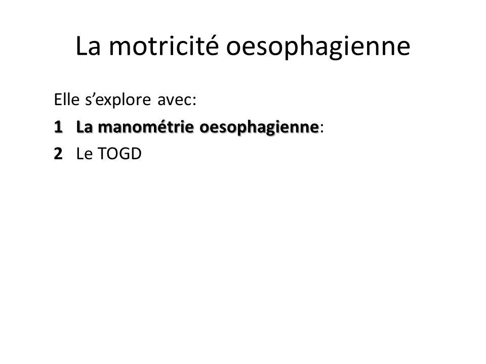 La motricité oesophagienne Elle s'explore avec: 1 La manométrie oesophagienne 1 La manométrie oesophagienne: 2 Le TOGD