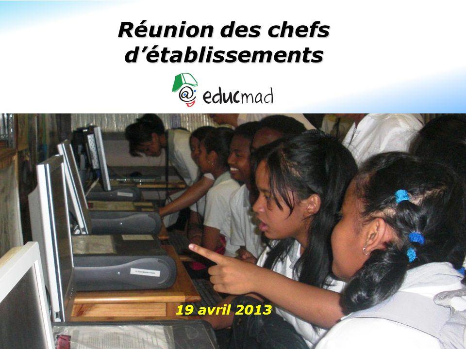 Réunion des chefs d'établissements 19 avril 2013