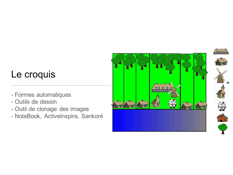 Le croquis - Formes automatiques - Outils de dessin - Outil de clonage des images - NoteBook, ActiveInspire, Sankoré