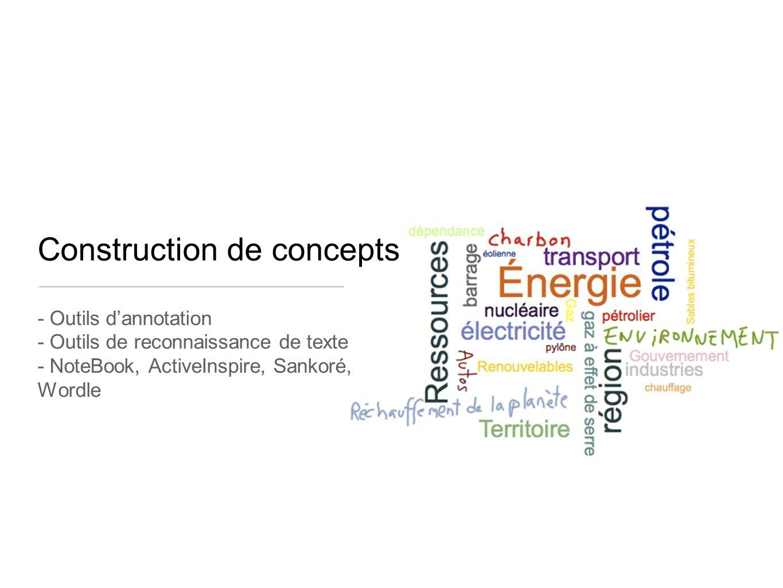 Construction de concepts - Outils d'annotation - Outils de reconnaissance de texte - NoteBook, ActiveInspire, Sankoré, Wordle