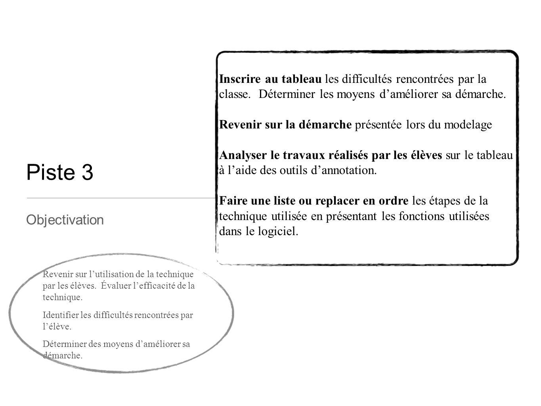 Piste 3 Objectivation Inscrire au tableau les difficultés rencontrées par la classe. Déterminer les moyens d'améliorer sa démarche. Revenir sur la dém