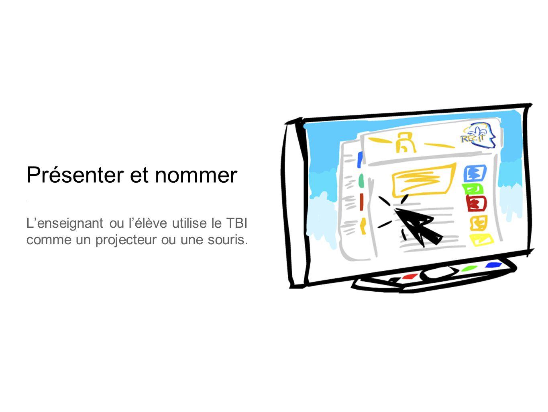 Présenter et nommer L'enseignant ou l'élève utilise le TBI comme un projecteur ou une souris.