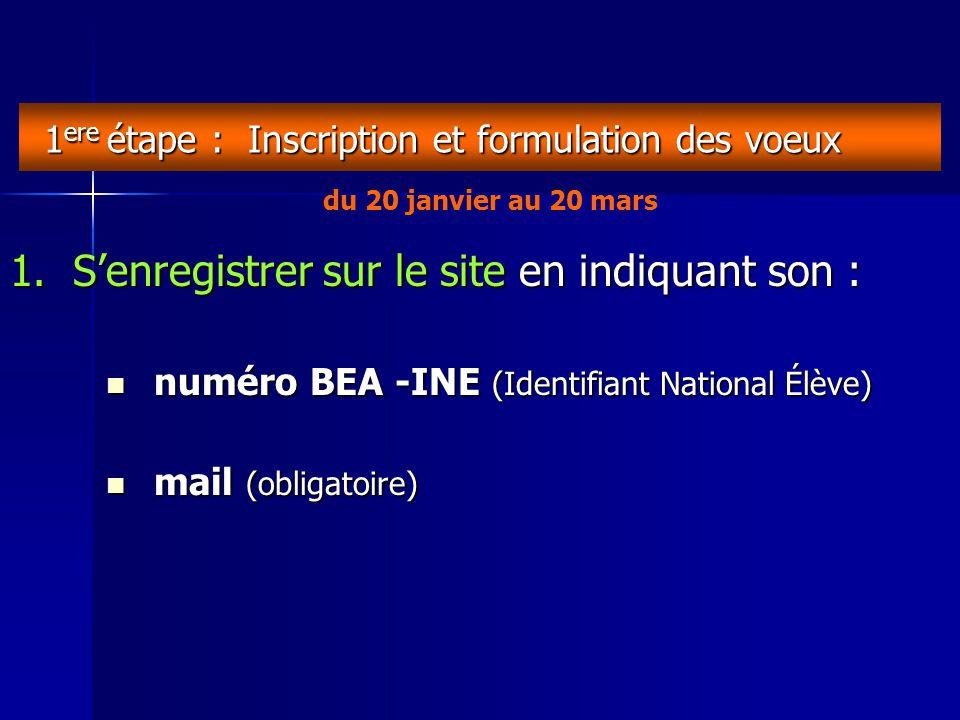 1 ere étape : Inscription et formulation des voeux 1.