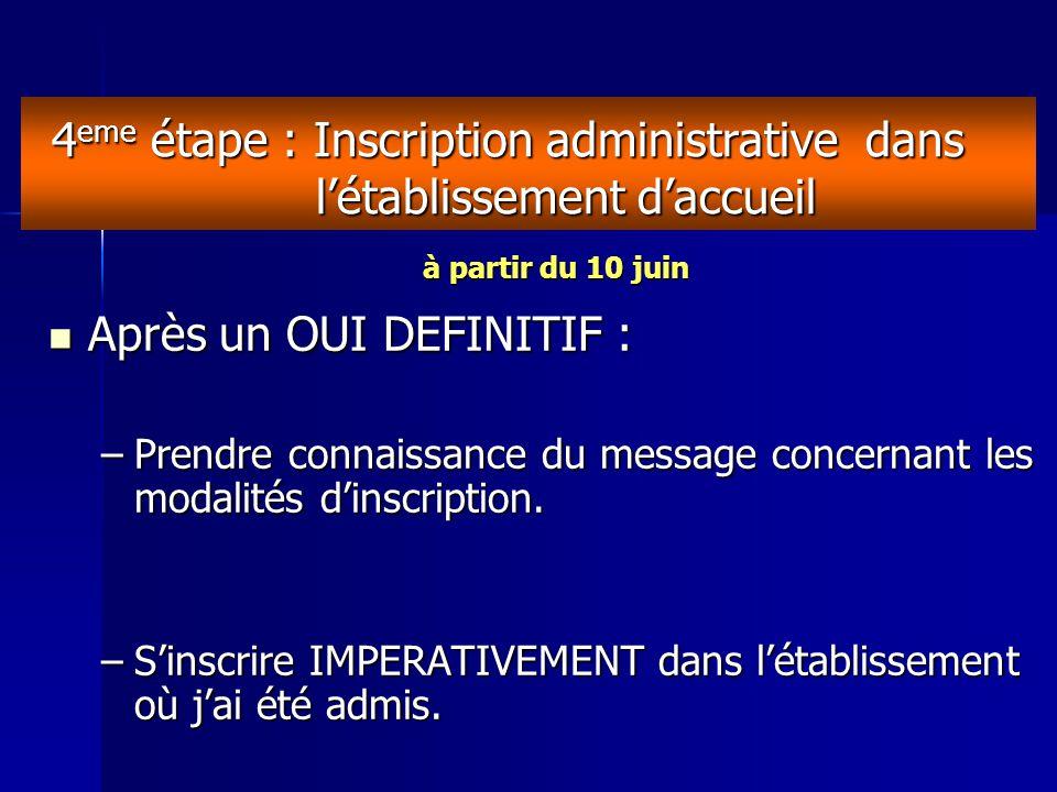 4 eme étape : Inscription administrative dans l'établissement d'accueil Après un OUI DEFINITIF : Après un OUI DEFINITIF : –Prendre connaissance du message concernant les modalités d'inscription.