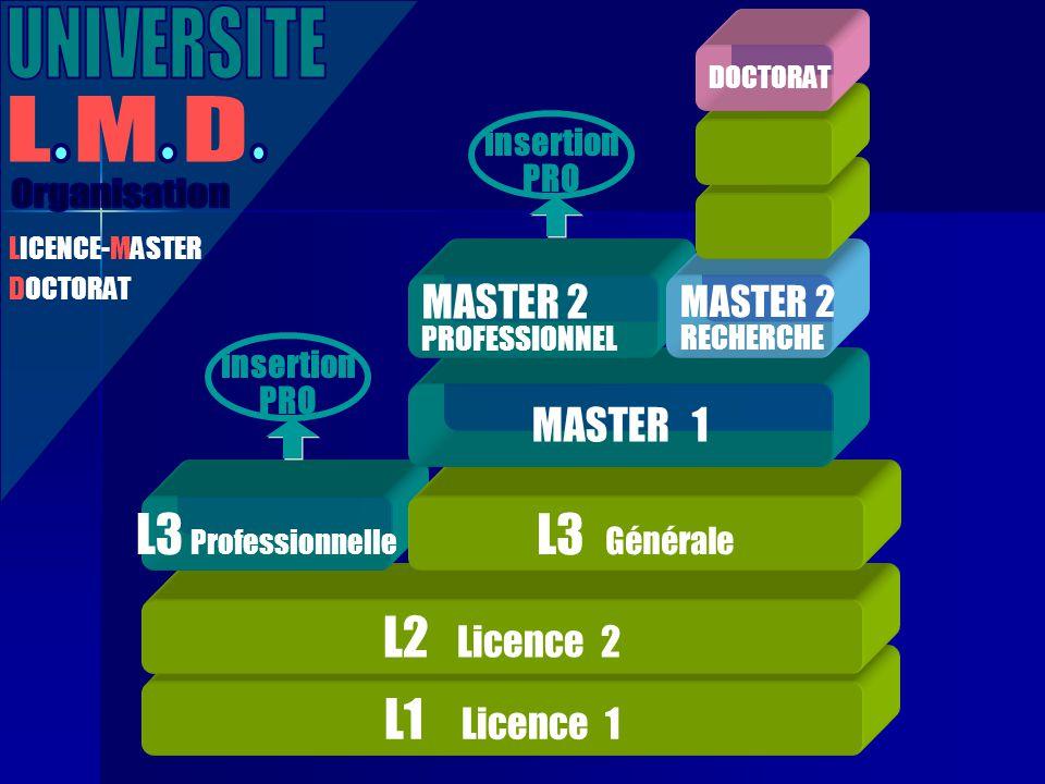 L1 Licence 1 L2 Licence 2 L3 Professionnelle LICENCE-MASTER DOCTORAT L3 Générale MASTER 1 MASTER 2 PROFESSIONNEL MASTER 2 RECHERCHE DOCTORAT insertion PRO insertion PRO