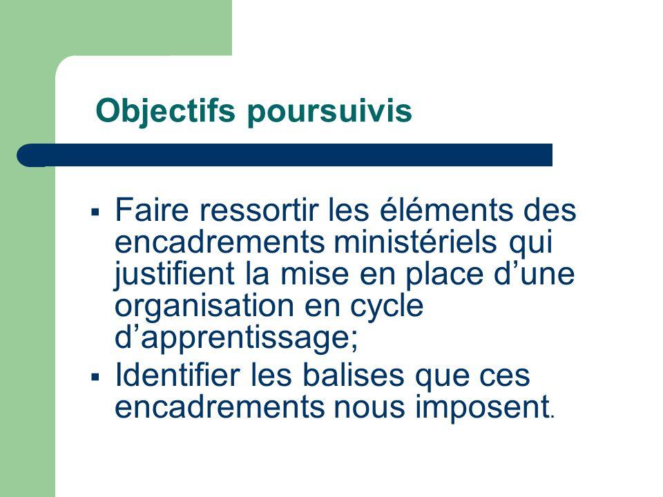 Objectifs poursuivis  Faire ressortir les éléments des encadrements ministériels qui justifient la mise en place d'une organisation en cycle d'apprentissage;  Identifier les balises que ces encadrements nous imposent.