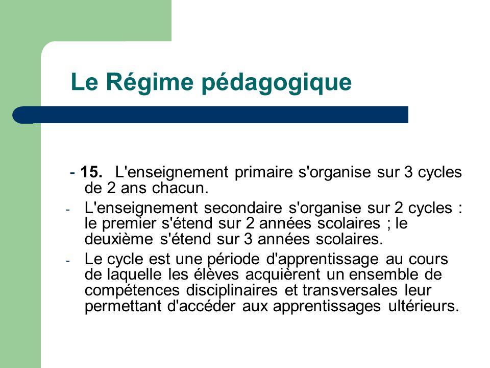 Le Régime pédagogique - 15.L enseignement primaire s organise sur 3 cycles de 2 ans chacun.