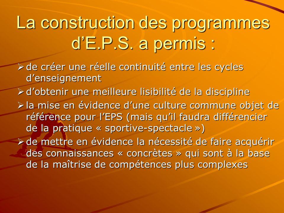 EN CONCLUSION : Une même logique anime les programmes d'E.P.S.: –3 grands objectifs fondent les différents programmes d'E.P.S.
