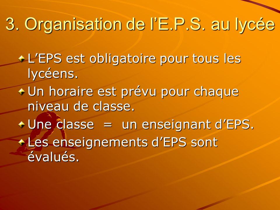 L'évaluation Les enseignants attribuent aux élèves une note d'EPS lors des échéances trimestrielles.