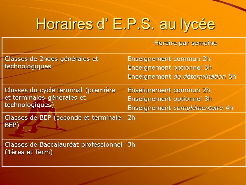 3.Organisation de l'E.P.S. au lycée L'EPS est obligatoire pour tous les lycéens.