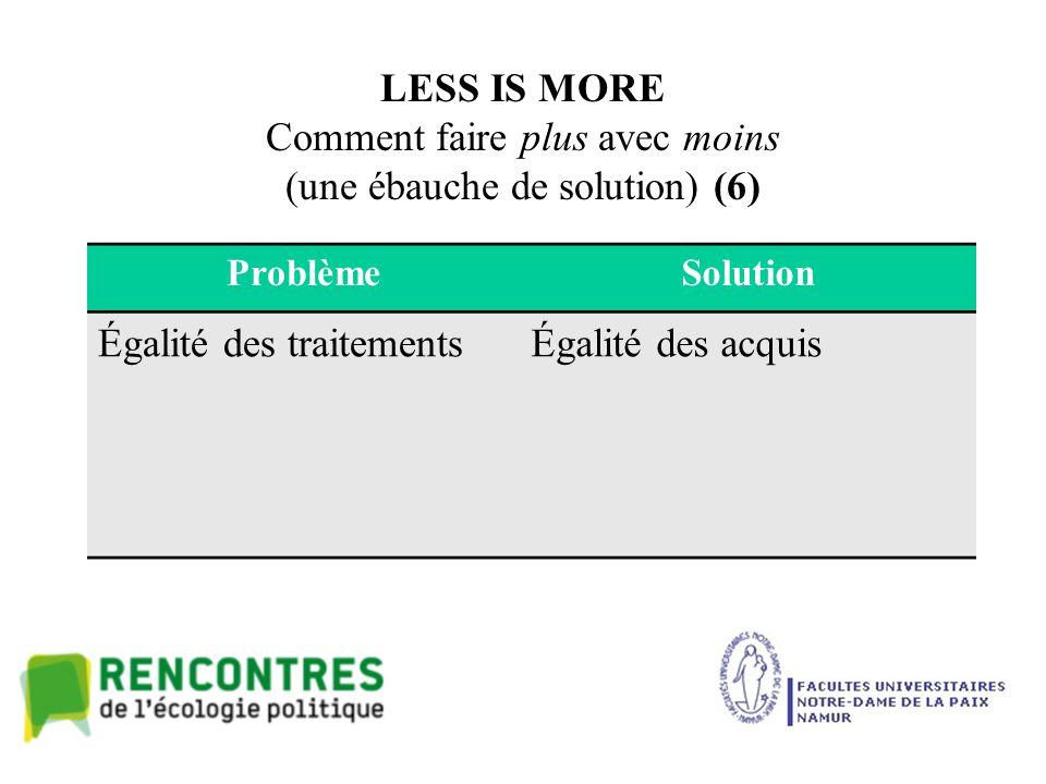 LESS IS MORE Comment faire plus avec moins (une ébauche de solution) (6) ProblèmeSolution Égalité des traitementsÉgalité des acquis