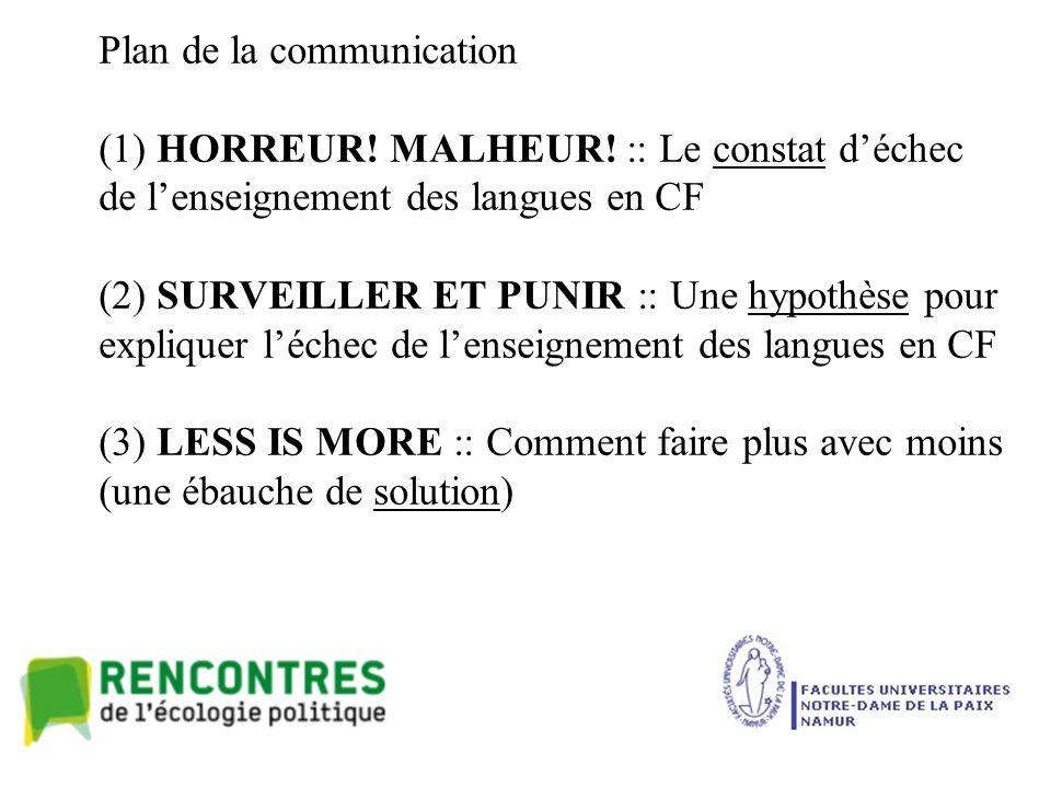 Plan de la communication (1) HORREUR. MALHEUR.