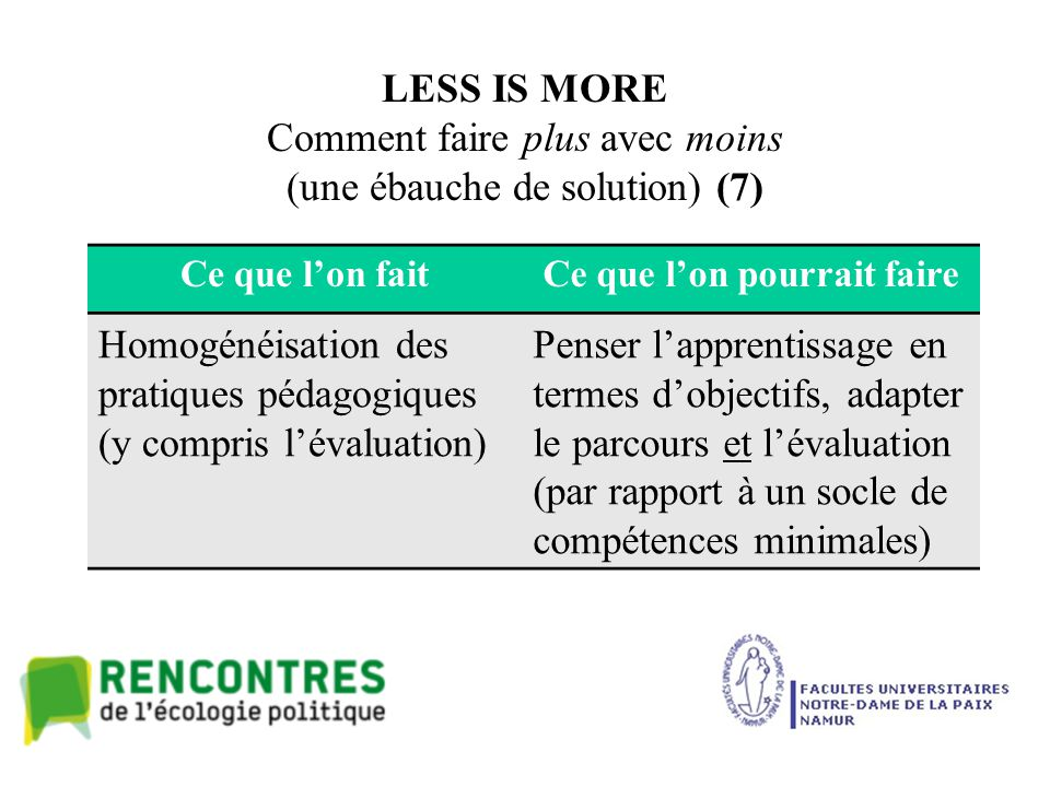 LESS IS MORE Comment faire plus avec moins (une ébauche de solution) (7) Ce que l'on faitCe que l'on pourrait faire Homogénéisation des pratiques péda
