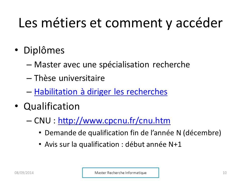 Les métiers et comment y accéder Diplômes – Master avec une spécialisation recherche – Thèse universitaire – Habilitation à diriger les recherches Hab