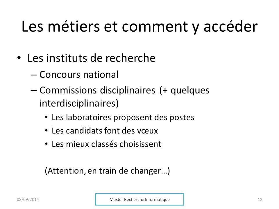Les métiers et comment y accéder Les instituts de recherche – Concours national – Commissions disciplinaires (+ quelques interdisciplinaires) Les labo
