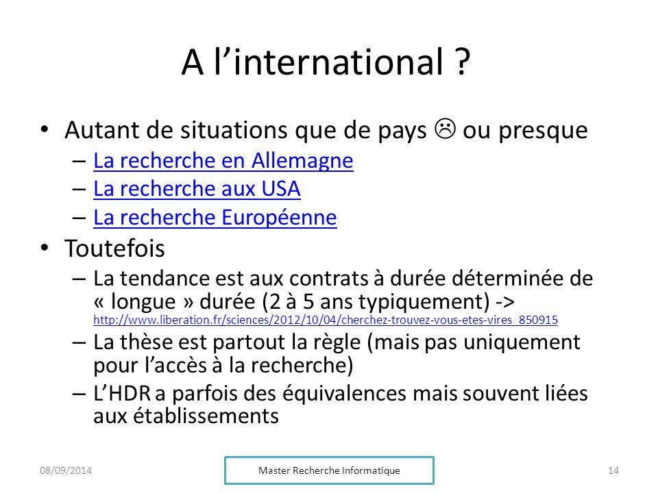 A l'international .
