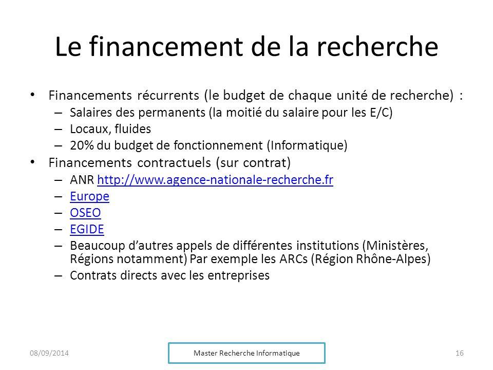 Le financement de la recherche Financements récurrents (le budget de chaque unité de recherche) : – Salaires des permanents (la moitié du salaire pour